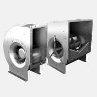 Centrifugal fan with backward curved impellers (single and double inlet)
